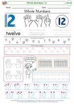 Mathematics - Kindergarten - Worksheet: Whole Numbers 12