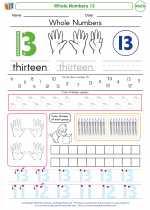 Mathematics - Kindergarten - Worksheet: Whole Numbers 13