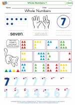 Mathematics - Kindergarten - Worksheet: Whole Numbers 7