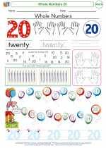 Mathematics - Kindergarten - Worksheet: Whole Numbers 20