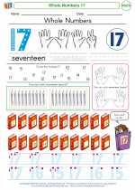 Mathematics - Kindergarten - Worksheet: Whole Numbers 17