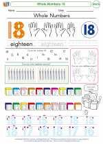 Mathematics - Kindergarten - Worksheet: Whole Numbers 18