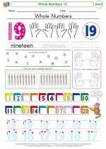 Mathematics - Kindergarten - Worksheet: Whole Numbers 19
