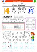 Mathematics - Kindergarten - Worksheet: Whole Numbers 14