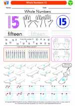 Mathematics - Kindergarten - Worksheet: Whole Numbers 15