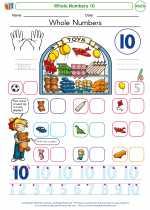 Mathematics - Kindergarten - Worksheet: Whole Numbers 10