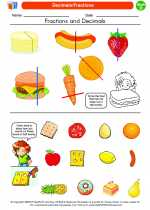 Mathematics - Fourth Grade - Worksheet: Decimals/Fractions