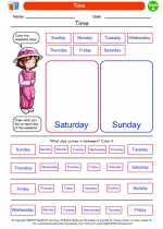 Mathematics - First Grade - Worksheet: Time