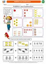 Mathematics - Kindergarten - Worksheet: Addition and Subtraction