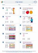 Mathematics - Third Grade - Worksheet: 3 Digit Addition