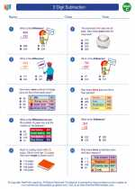 Mathematics - Third Grade - Worksheet: 3 Digit Subtraction