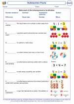 Mathematics - First Grade - Vocabulary: Subtraction Facts