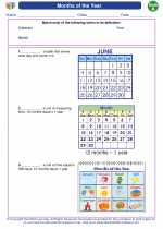 Mathematics - First Grade - Vocabulary: Months of the Year