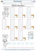Mathematics - Kindergarten - Worksheet: Whole Numbers