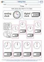 Mathematics - First Grade - Worksheet: Telling Time