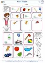 Mathematics - Kindergarten - Worksheet: Heavy or Light
