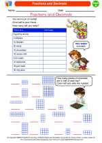 Mathematics - First Grade - Worksheet: Fractions and Decimals