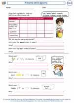 Mathematics - Kindergarten - Worksheet: Volume and Capacity
