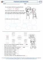Mathematics - Kindergarten - Worksheet: Fractions and Decimals
