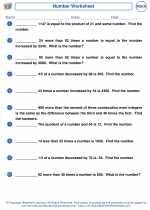 Mathematics - Fifth Grade - Worksheet: Number Problems