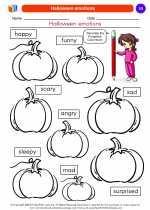 Social Studies - Kindergarten - Worksheet: Halloween emotions