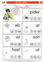 English Language Arts - First Grade - Worksheet: Halloween  spelling