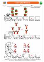 Mathematics - First Grade - Worksheet: Add it up for Christmas