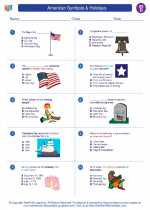 Social Studies - Fourth Grade - Worksheet: American Symbols & Holidays