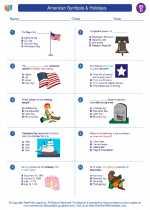Social Studies - Fourth Grade - Worksheet: American Symbols & Holidays