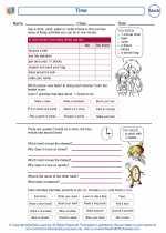 Mathematics - Third Grade - Worksheet: Time