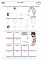 Mathematics - Third Grade - Worksheet: 3D Solids