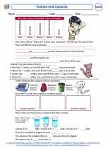 Mathematics - Third Grade - Worksheet: Volume and Capacity