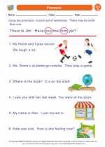 English Language Arts - First Grade - Worksheet: Pronouns