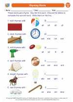 English Language Arts - Second Grade - Worksheet: Rhyming Words