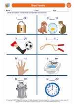 English Language Arts - Second Grade - Worksheet: Short Vowels