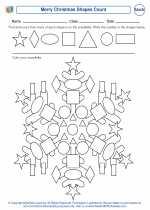 Mathematics - First Grade - Worksheet: Merry Christmas Shapes Count