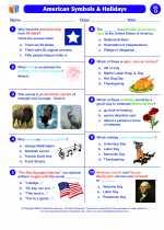 Social Studies - First Grade - Worksheet: American Symbols & Holidays