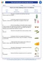 Science - Third Grade - Vocabulary: How animals grow and change and live