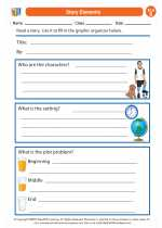 English Language Arts - Second Grade - Worksheet: Story Elements