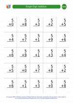 Mathematics - First Grade - Worksheet: Single Digit Addition