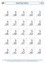 Mathematics - First Grade - Worksheet: Single Digit Addition