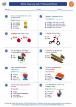 English Language Arts - Third Grade - Worksheet: Word Meaning with Prefixes/Suffixes