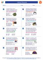English Language Arts - Third Grade - Worksheet: Literary Elements
