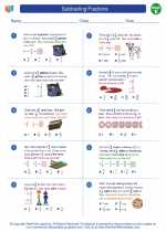 Mathematics - Fifth Grade - Worksheet: Subtracting Fractions