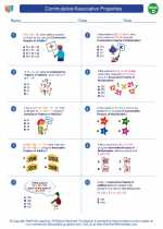 Mathematics - Fourth Grade - Worksheet: Commutative/Associative Properties