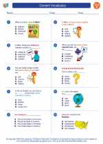 English Language Arts - Third Grade - Worksheet: Content Vocabulary