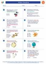 English Language Arts - Third Grade - Worksheet: Written Directions