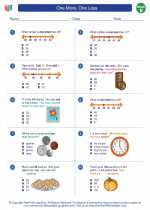 Mathematics - Second Grade - Worksheet: One More, One Less